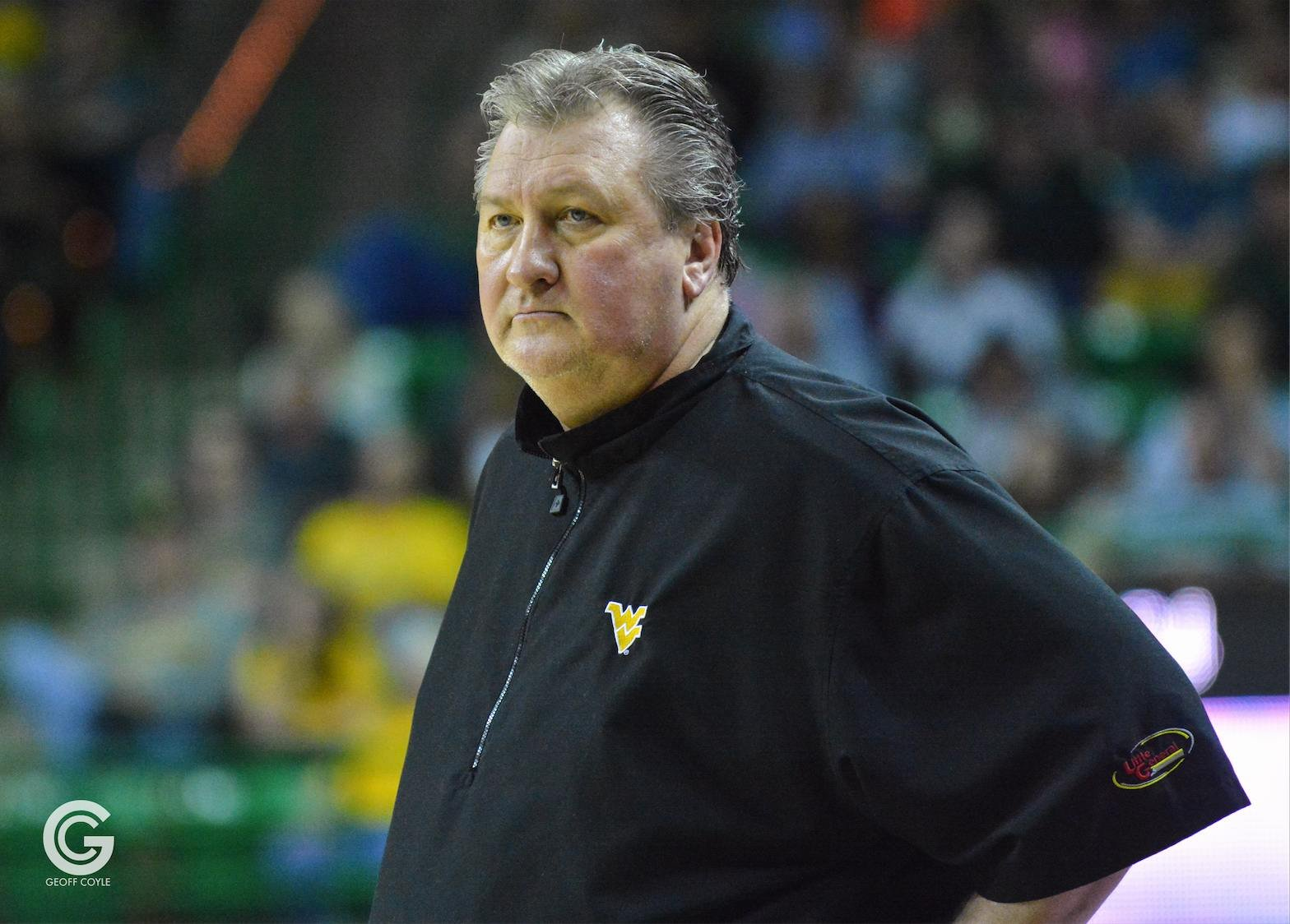 Bob Huggins looks on during the final moments of a win over Baylor in Waco. (PHOTO: Geoff Coyle)
