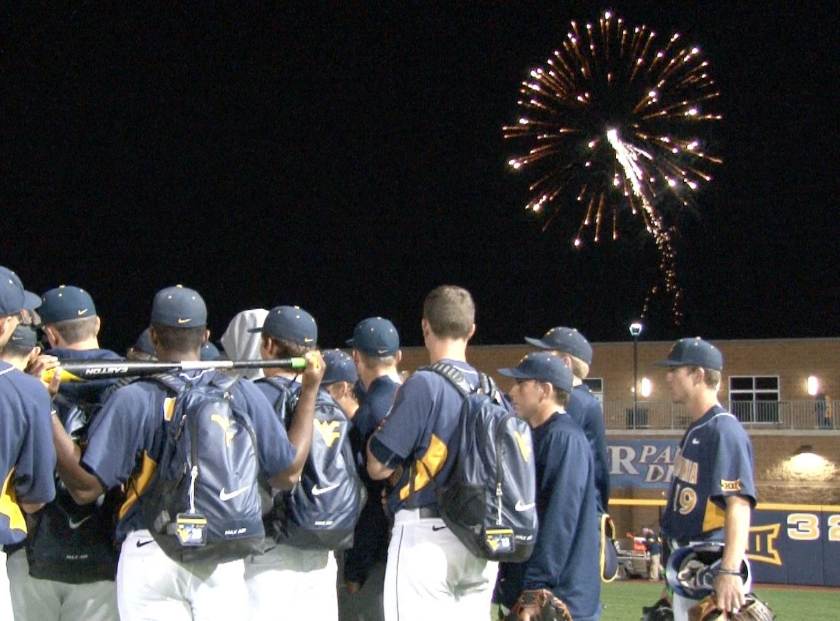 WVU Baseball celebrates a 10-0 win over Baylor with fireworks at Monongalia County Ballpark.