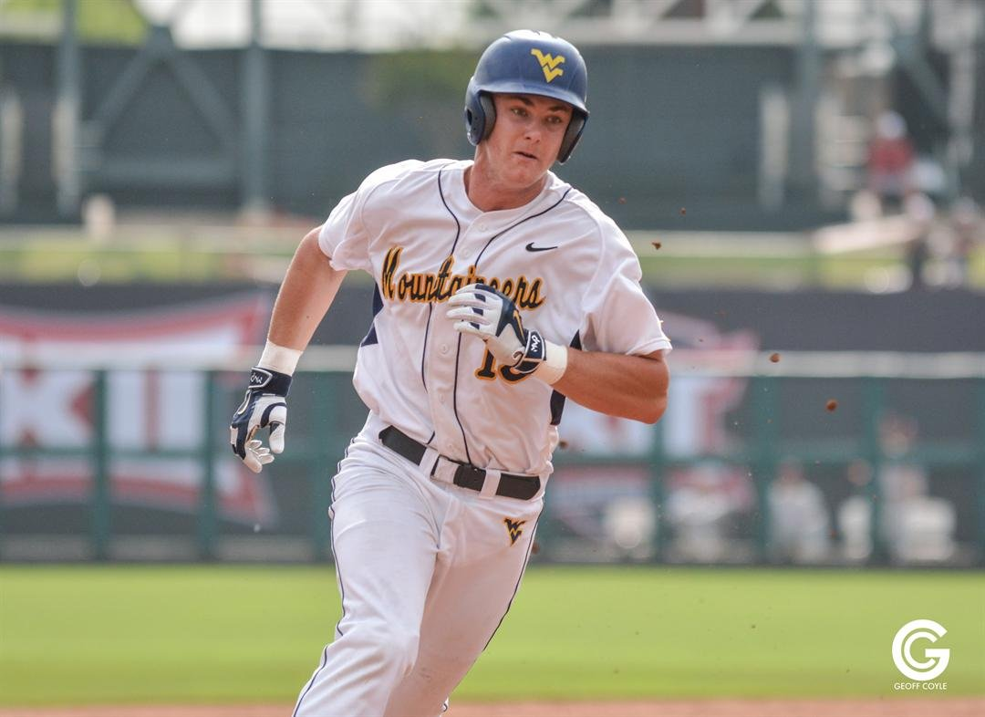 Jackson Cramer scores a run during WVU's 6-0 win over Oklahoma in the Big 12 Baseball Tournament (PHOTO: Geoff Coyle)