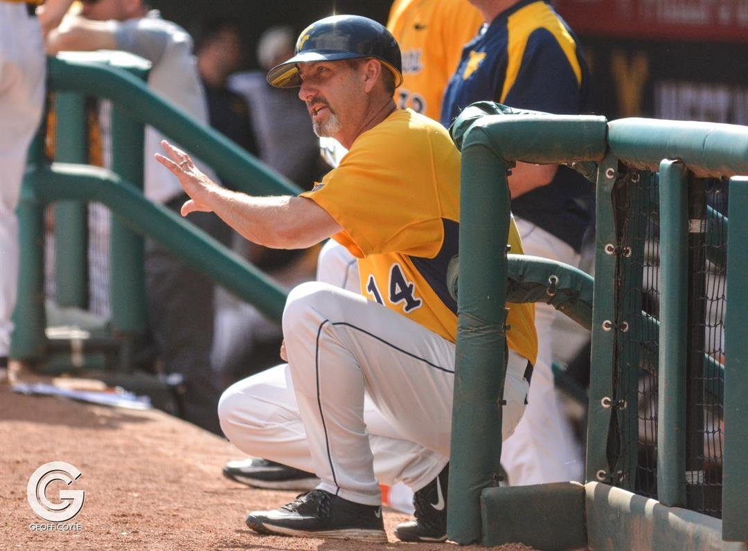 Randy Mazey directs his Mountaineers during the Big 12 tournament (PHOTO: Geoff Coyle)