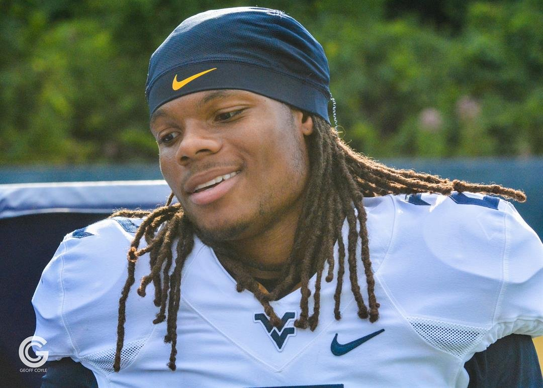 WVU junior receiver Ka'Raun White has a laugh during fall camp practice. (PHOTO: Geoff Coyle)