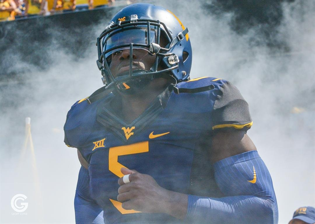 WVU linebacker Xavier Preston takes the field for the Mountaineers (PHOTO: Geoff Coyle)