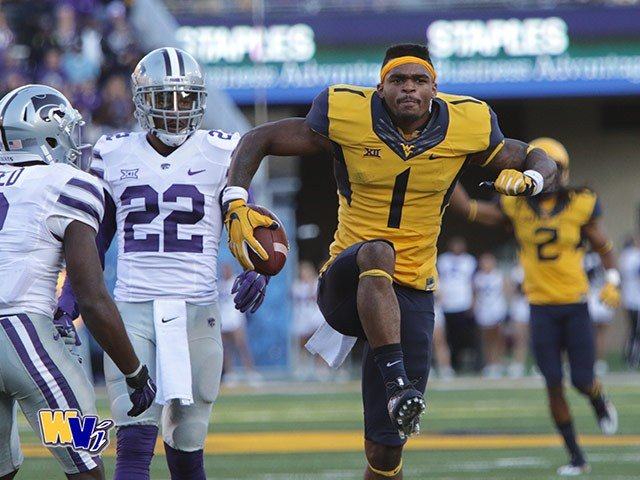WVU junior receiver Shelton Gibson reacts to a 52-yard reception in a win over Kansas State. (PHOTO: Scott Lituchy)