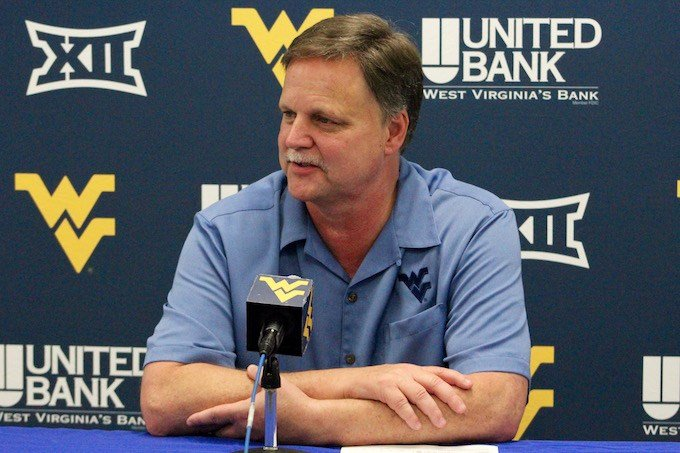 Coach Carey addresses the media after WVU's first exhibition matchup against Concord. (PHOTO: Anjelica Trinone)