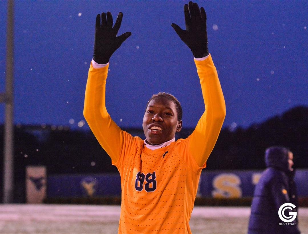 WVU defender Kadeisha Buchanan waves to the fans following an NCAA Tournament win in Morgantown. (PHOTO: Geoff Coyle)
