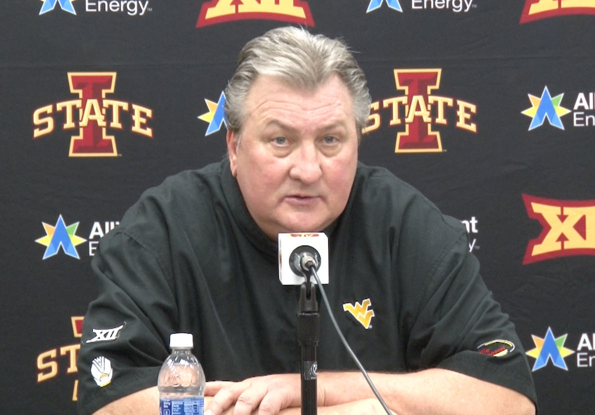 Bob Huggins speaks with reporters following an 85-72 win over Iowa State.
