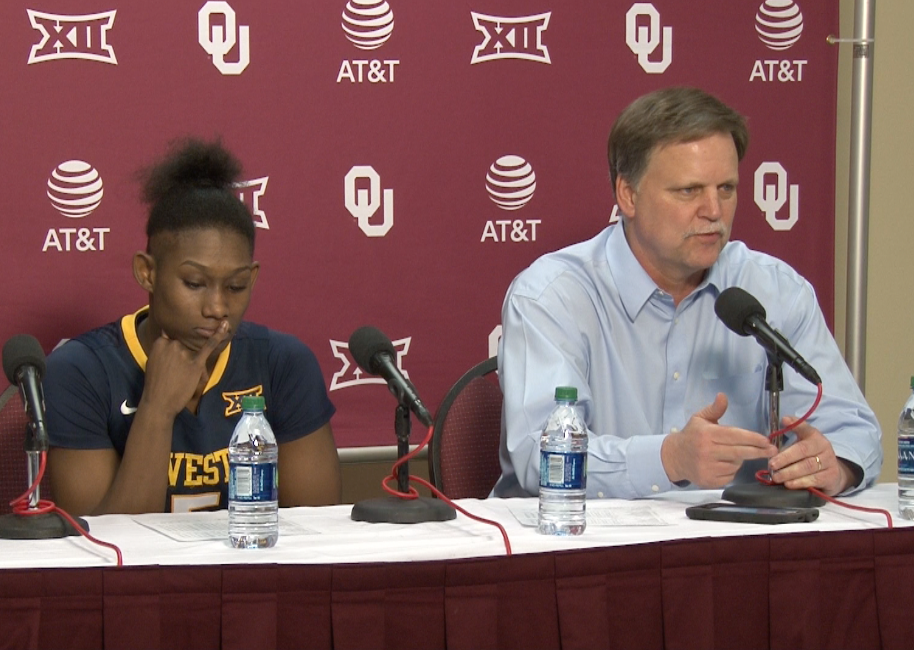 Tynice Martin and Mike Carey address the media following a 90-87 double overtime loss to Oklahoma.