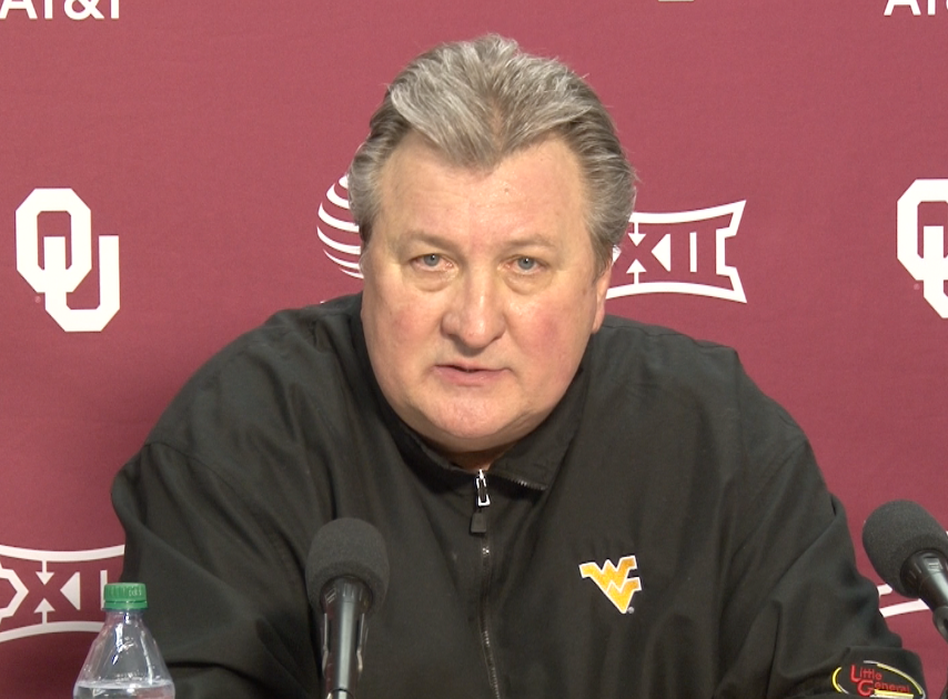 Bob Huggins speaks with the media following a 61-50 win over Oklahoma.