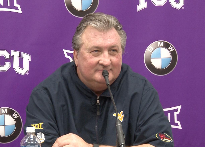 Bob Huggins speaks with reporters following a 61-60 win over TCU.
