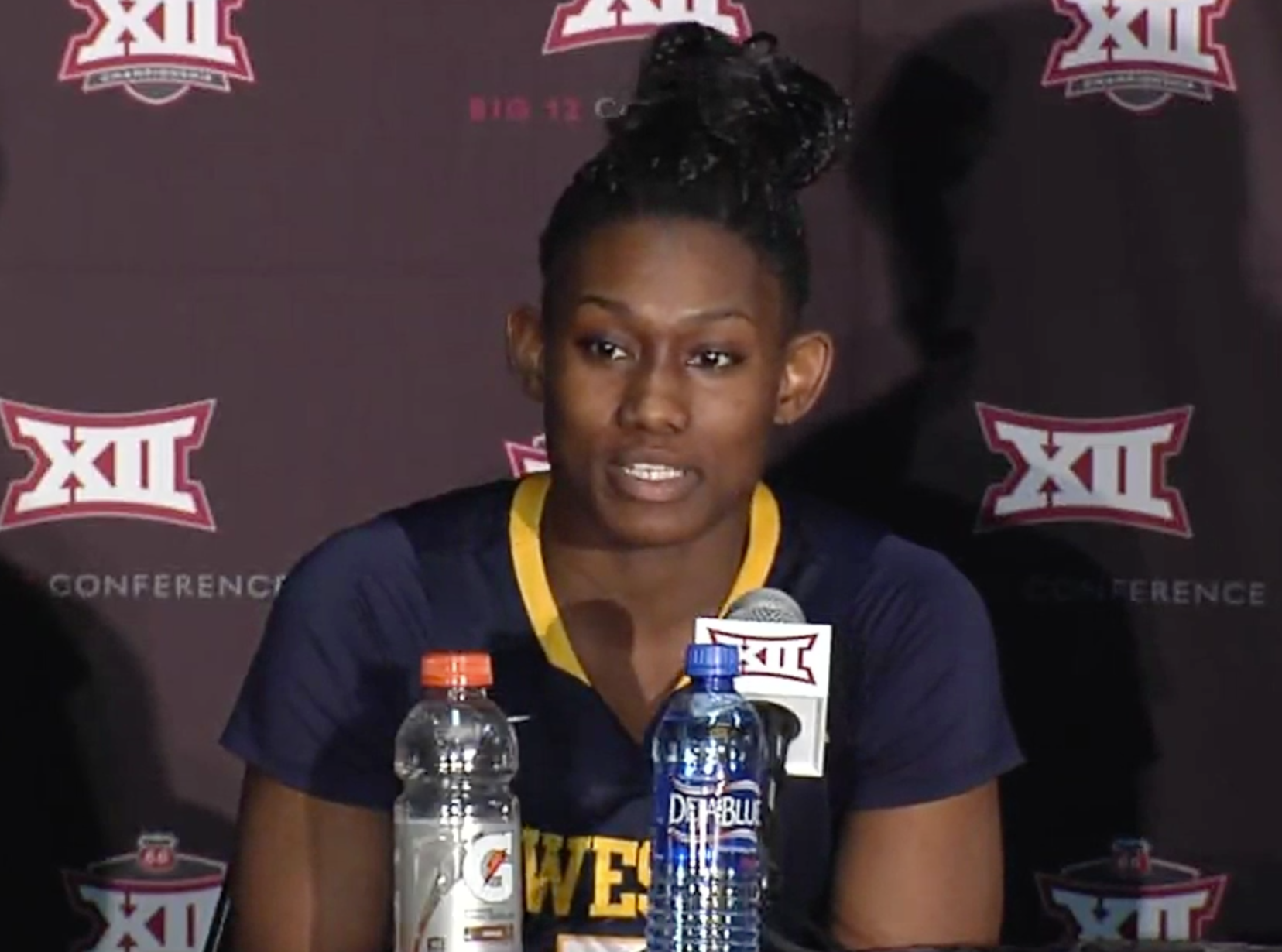 Big 12 tournament Most Outstanding Player Tynice Martin speaks with reporters following WVU's win over Baylor.