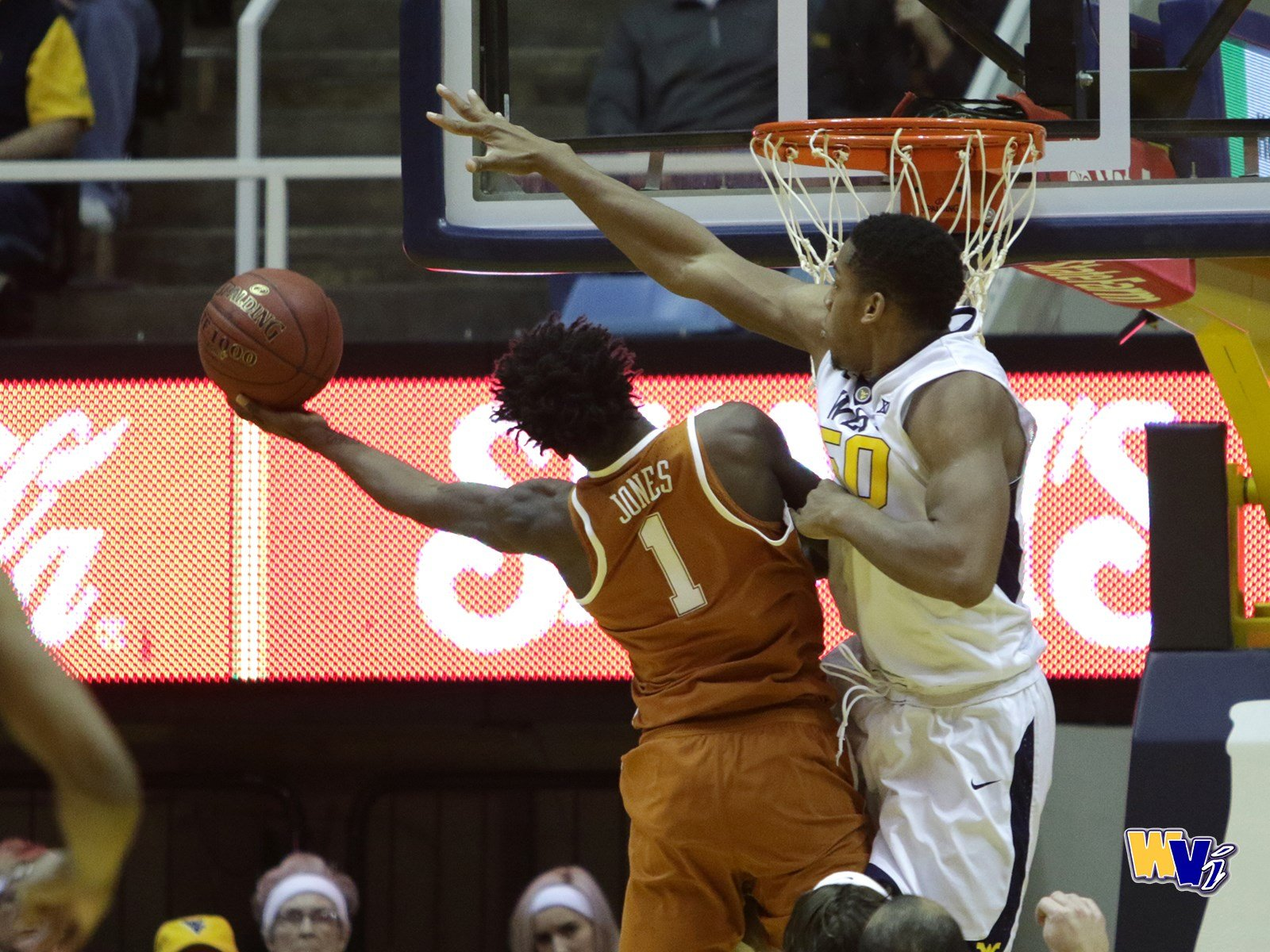Sagaba Konate blocks a shot in WVU's 77-62 win over Texas on February 20.