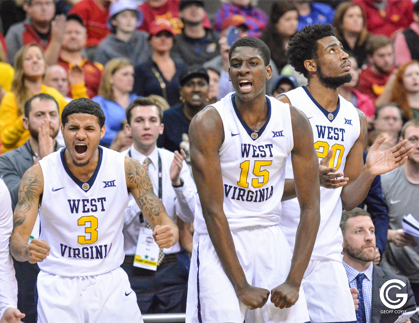 The WVU bench erupts as the Mountaineers attempt a late comeback in the Big 12 championship game. (PHOTO: Geoff Coyle)