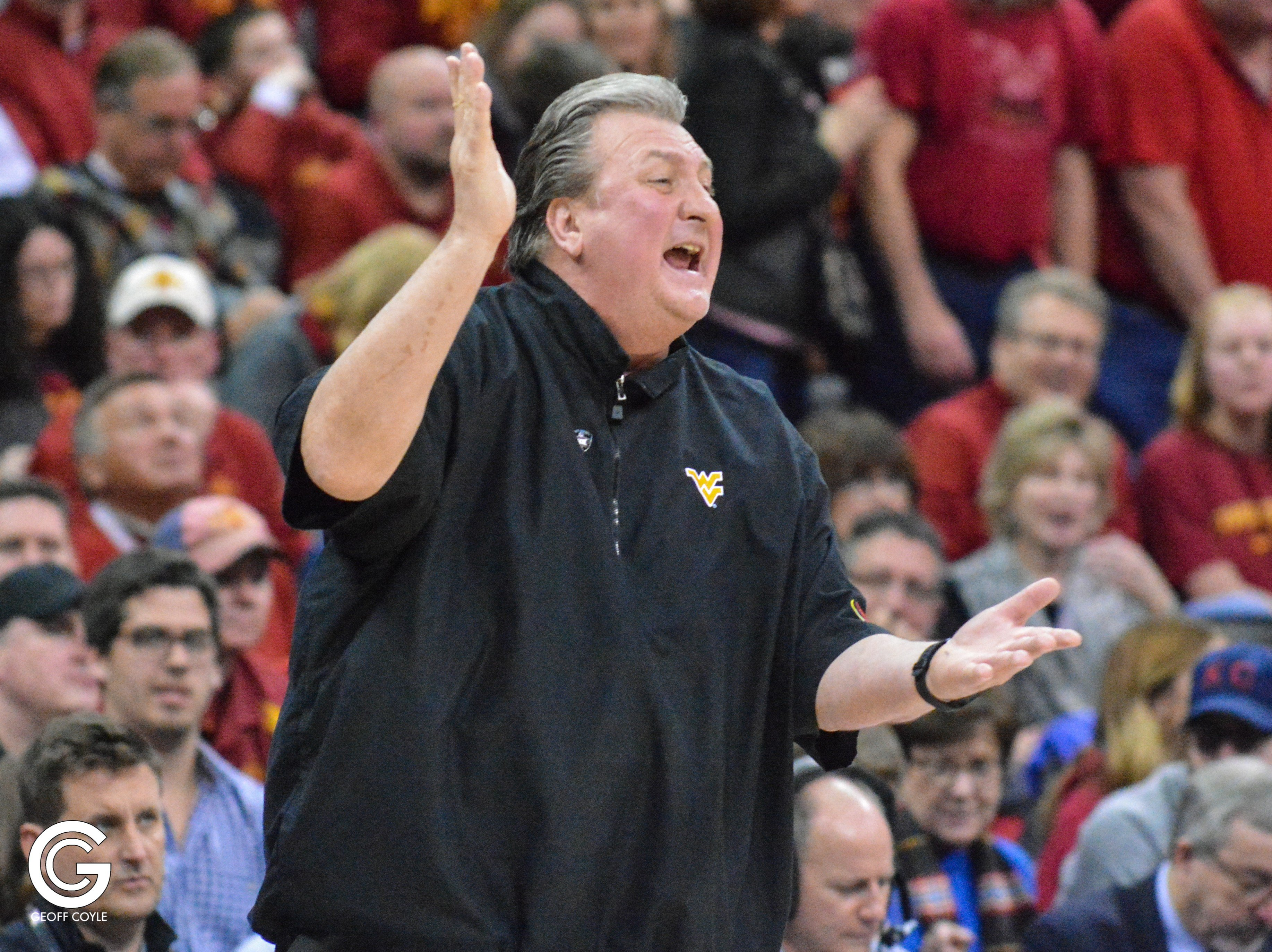Bob Huggins and the Mountaineers enter the NCAA Tournament with a 26-8 record. (PHOTO: Geoff Coyle)