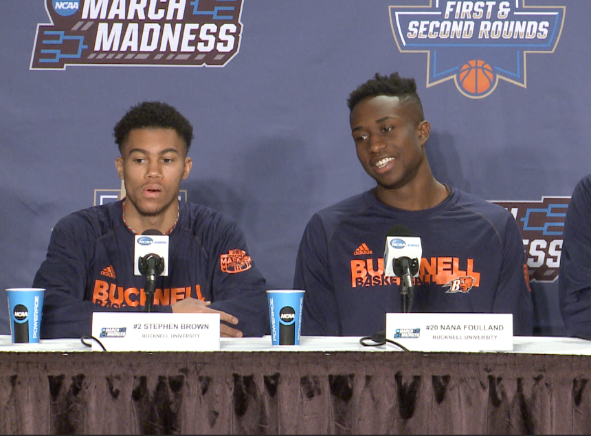 Bucknell players Stephen Brown and Nana Foulland speak with the media ahead of Thursday's game against WVU.