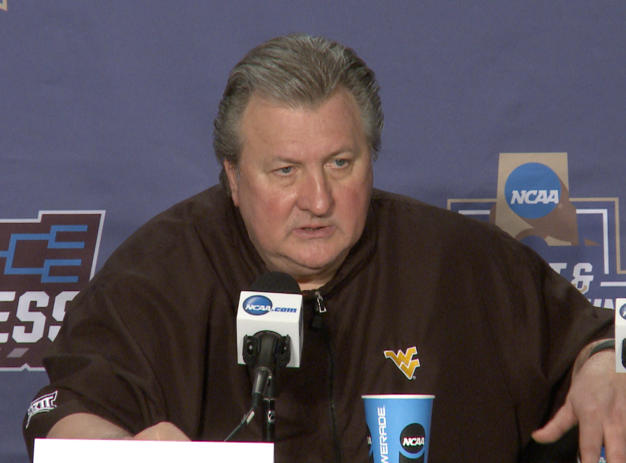 Bob Huggins speaks with the media following an 86-80 win over Bucknell.