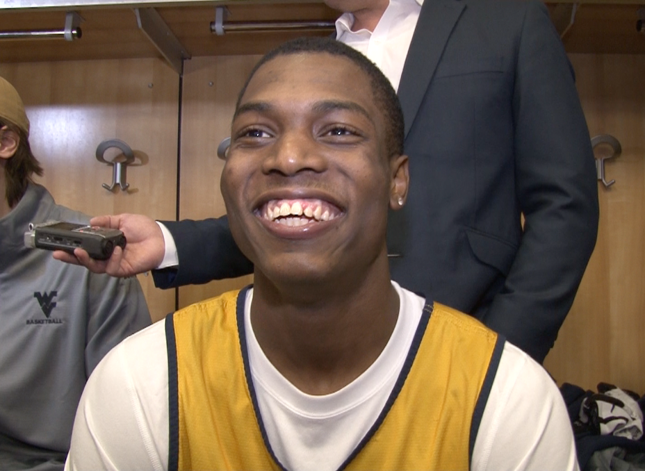 Teyvon Myers smiles as he previews Saturday's meeting with Notre Dame in the NCAA Tournament.