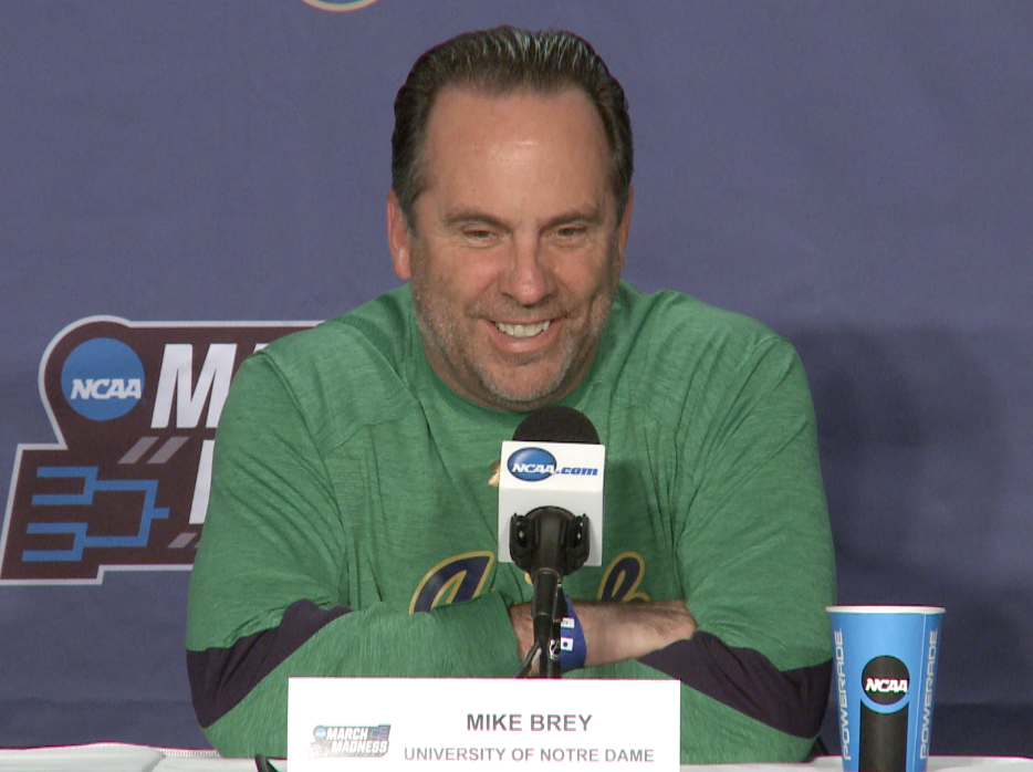 Notre Dame coach Mike Brey sports his green on St. Patrick's Day.