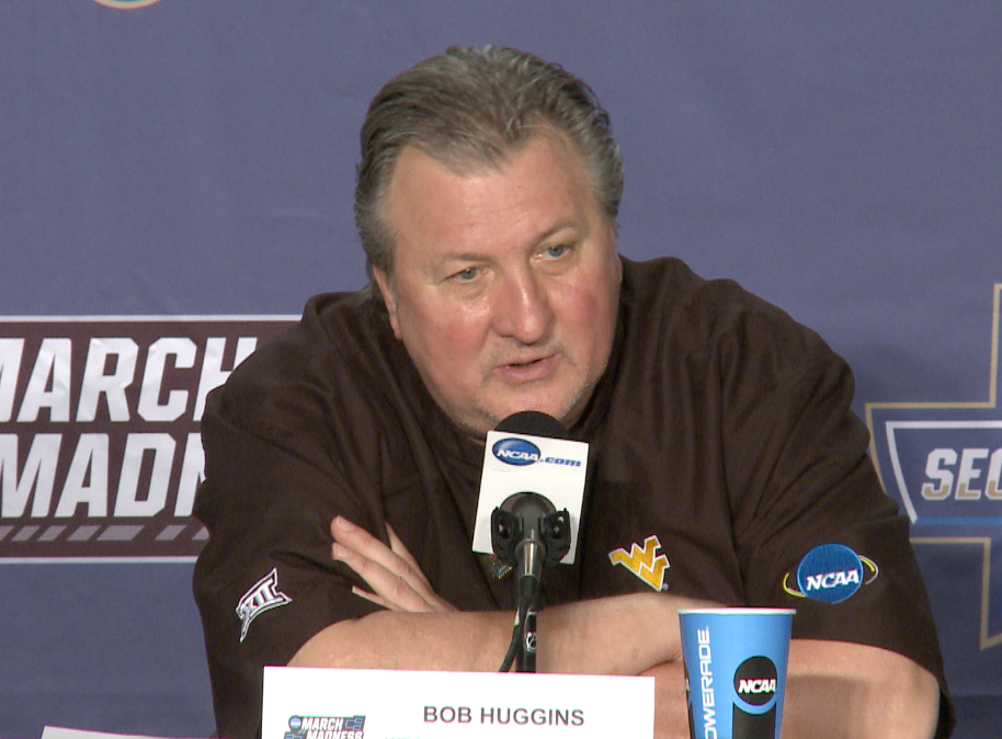 Bob Huggins speaks with reporters following WVU's win over Notre Dame.