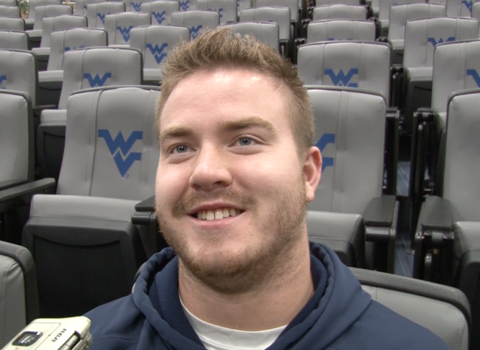 WVU senior offensive lineman Kyle Bosch speaks with reporters during spring football.