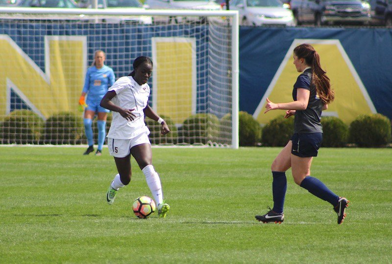 Michaela Abam and the Mountaineers defeat Pitt 5-1 on Sunday afternoon. (PHOTO: Anjelica Trinone)
