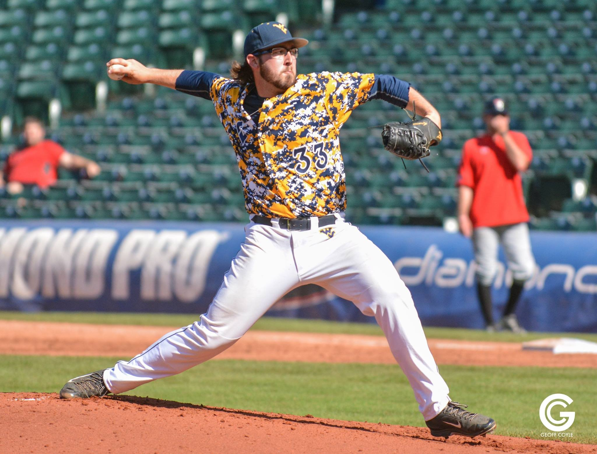 BJ Myers hurls a pitch for WVU. (PHOTO: Geoff Coyle)