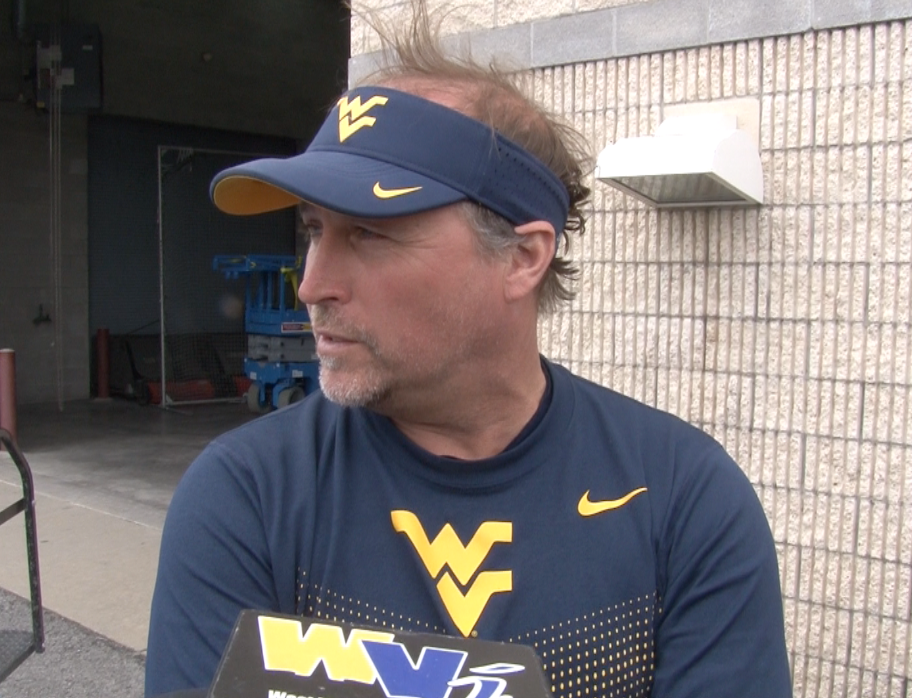 Dana Holgorsen addresses the media before WVU's 13th spring practice.