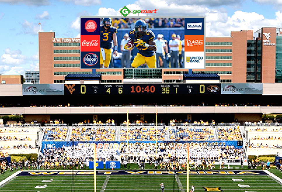 A conceptual rendering of a new HD video board at Milan Puskar Stadium. (PHOTO: WVUSports.com)