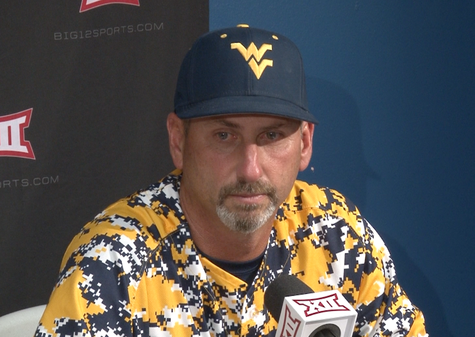 Randy Mazey speaks with the media following an 8-4 loss to Oklahoma State.