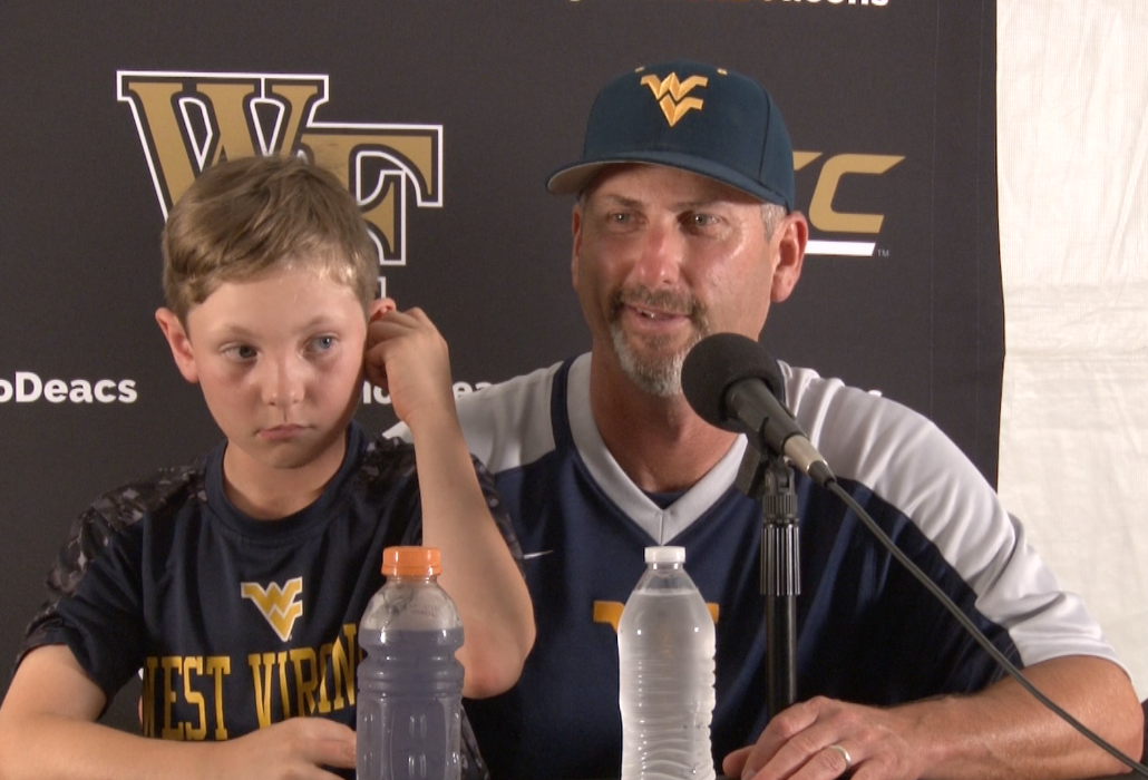 Randy Mazey speaks with reporters following a 4-3 loss to Wake Forest in the NCAA Regional.