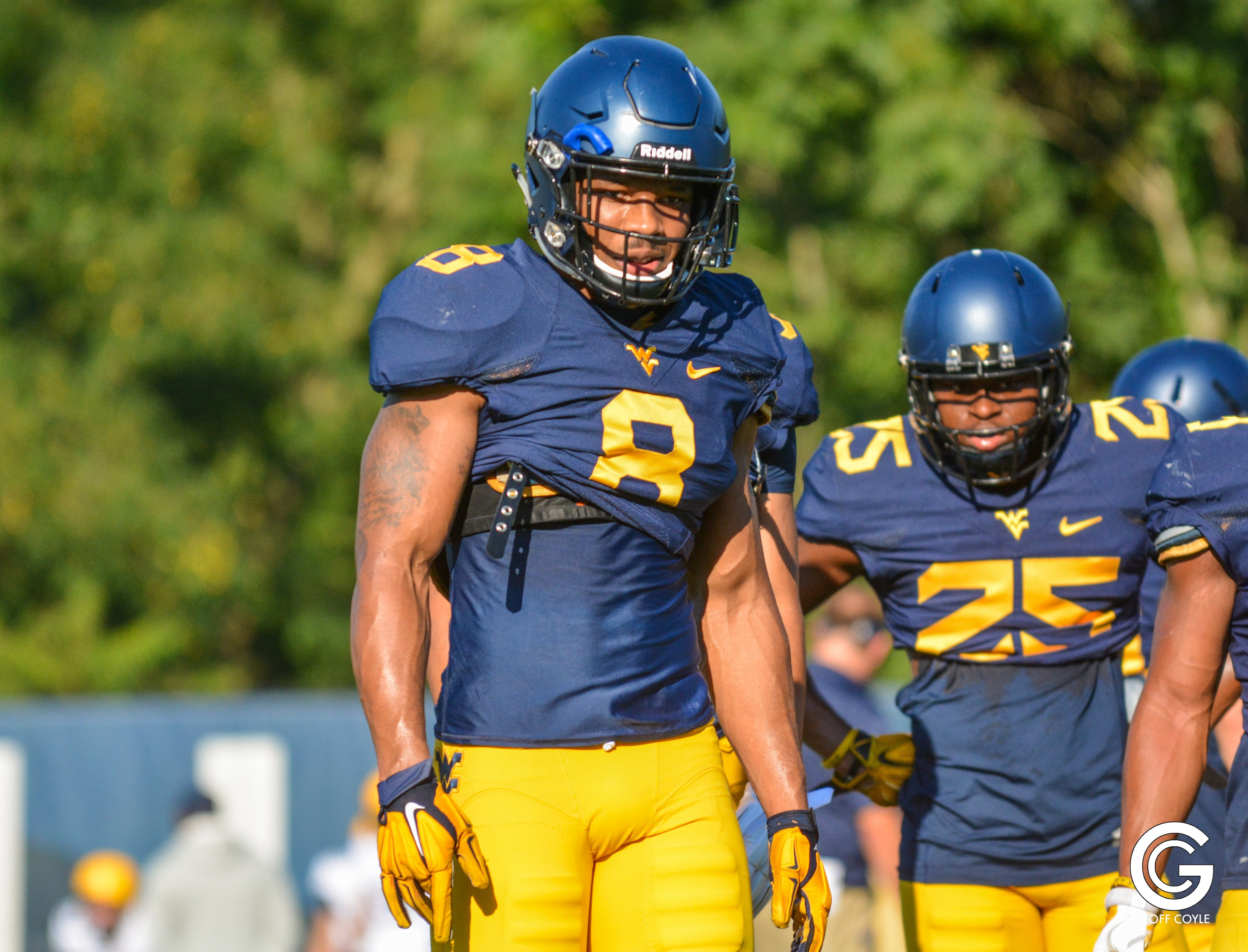WVU safety Kyzir White looks on during the final camp of his Mountaineer career. (PHOTO: Geoff Coyle)