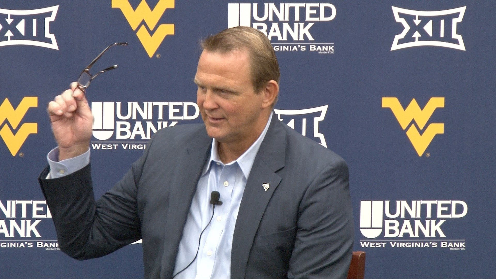 WVU Director of Athletics Shane Lyons speaks with the media.