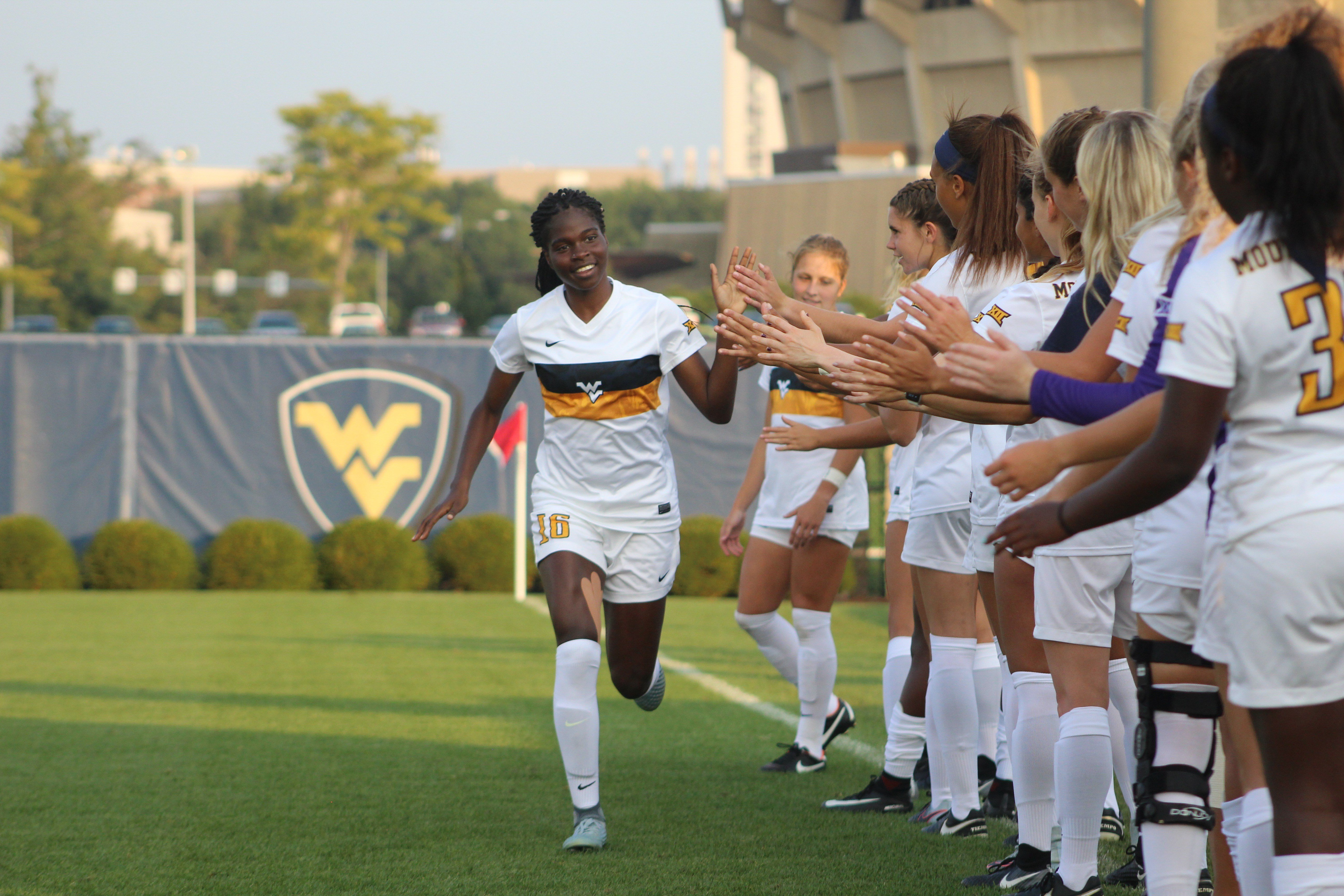 WVU junior Easther Mayi Kith during Monday's introductions. (PHOTO: Anjelica Trinone)