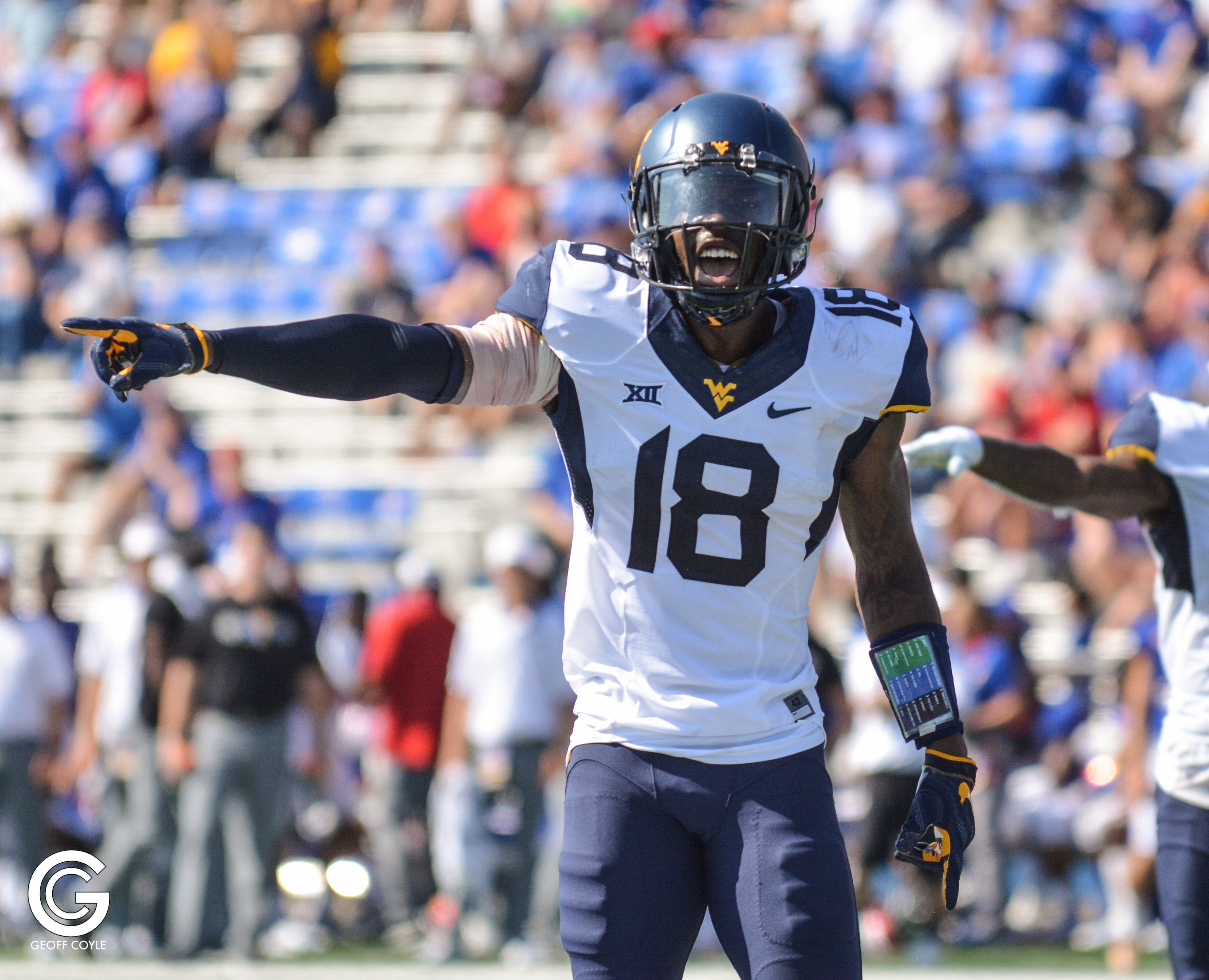 WVU senior safety Marvin Gross calls out a command in a 56-34 win over Kansas. (PHOTO: Geoff Coyle)