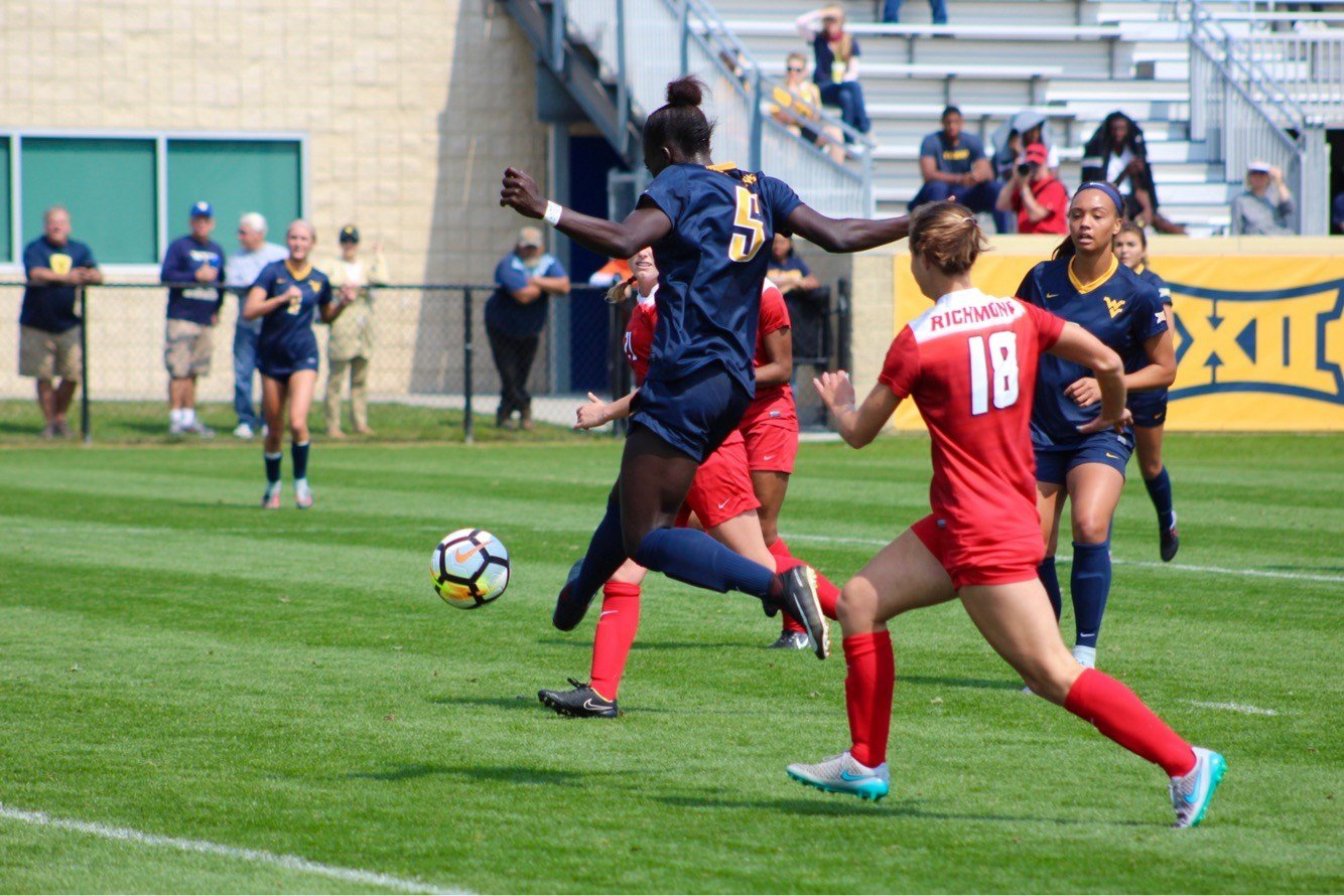 Michaela Abam and the Mountaineers will host Rutgers on Friday, Nov. 17 in the second round of the NCAA Tournament. (PHOTO: Anjelica Trinone)
