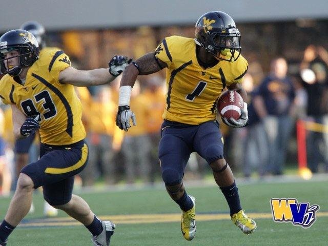 Tavon Austin joined other former WVU stars at practice prior to the Spring Game.